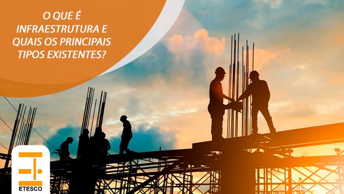 A imagem mostra homens em cima de estruturas de construção.